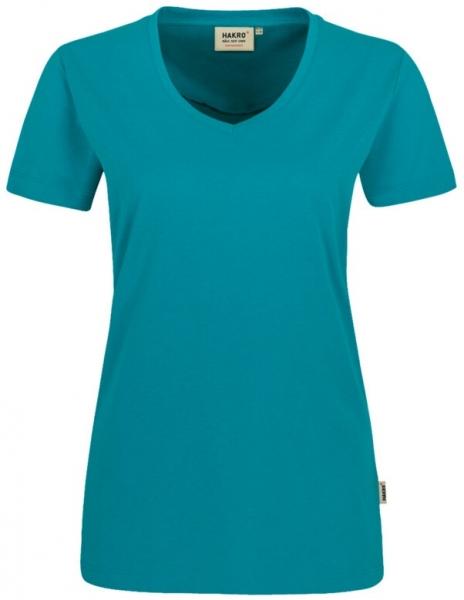 HAKRO-Damen-T-Shirt, Women-Arbeits-Berufs-Shirt, V-Ausschnitt Performance, smaragd
