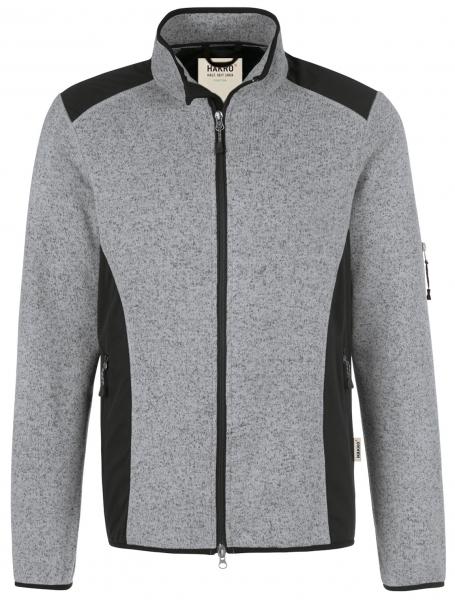HAKRO-Damen-Strick-Fleece-Arbeits-Berufs-Jacke, Churchill, 280 g / m², grau meliert