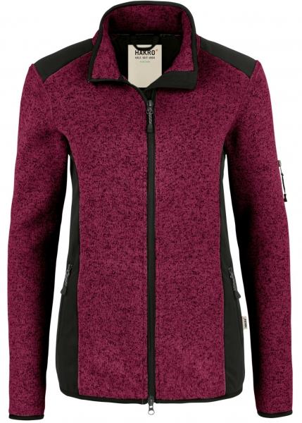 HAKRO-Damen-Strick-Fleece-Arbeits-Berufs-Jacke, Churchill, 280 g / m², weinrot meliert