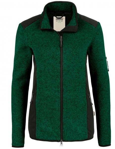 HAKRO-Damen-Strick-Fleece-Arbeits-Berufs-Jacke, Churchill, 280 g / m², tanne meliert