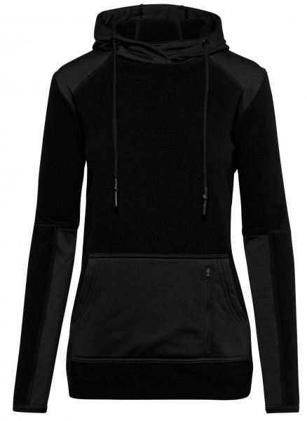 HAKRO-Damen-Kapuzen-Stretch-Fleece-Arbeits-Berufs-Jacke, Morris, 240 g / m², schwarz