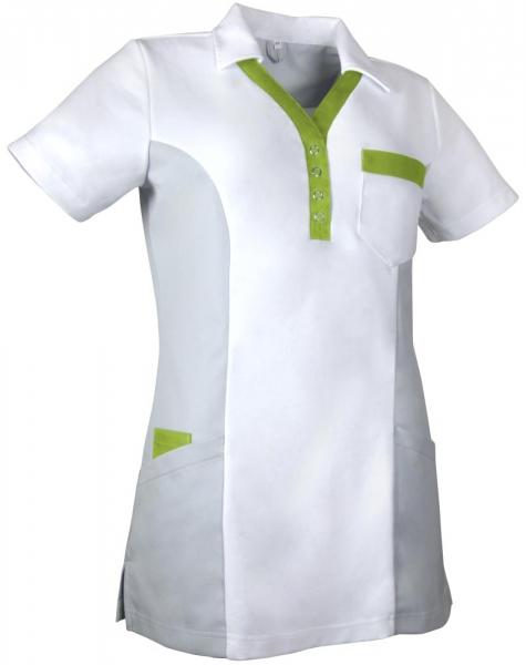 Teamdress-Service, Damen-Polokasack, weiß/grau/kiwigün