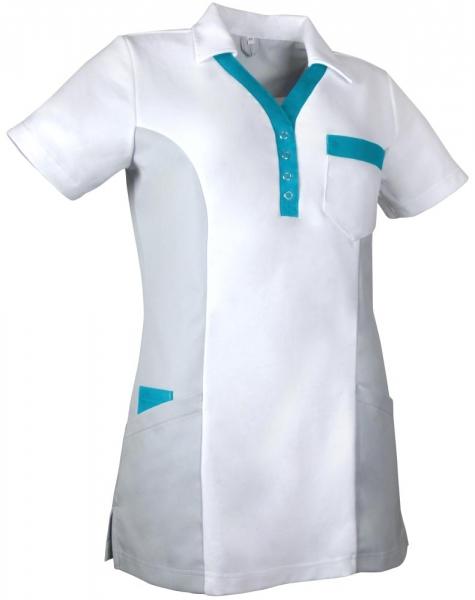 Teamdress-Service, Damen-Polokasack, weiß/grau/türkis