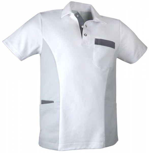 Teamdress-Service, Herren-Polokasack, weiß/grau/dunkelgrau