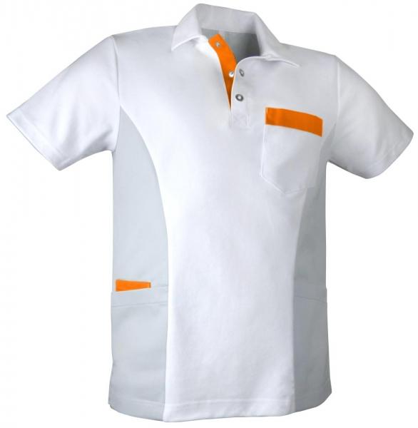Teamdress-Service, Herren-Polokasack, weiß/grau/orange