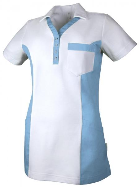 Teamdress-Service, Damen Polokasack, mit Brusttasche, weiß/azurblau