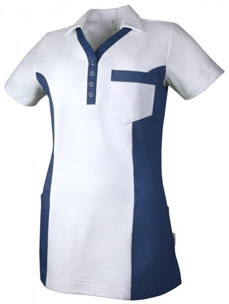 Teamdress-Service, Damen Polokasack, mit Brusttasche, weiß/marine