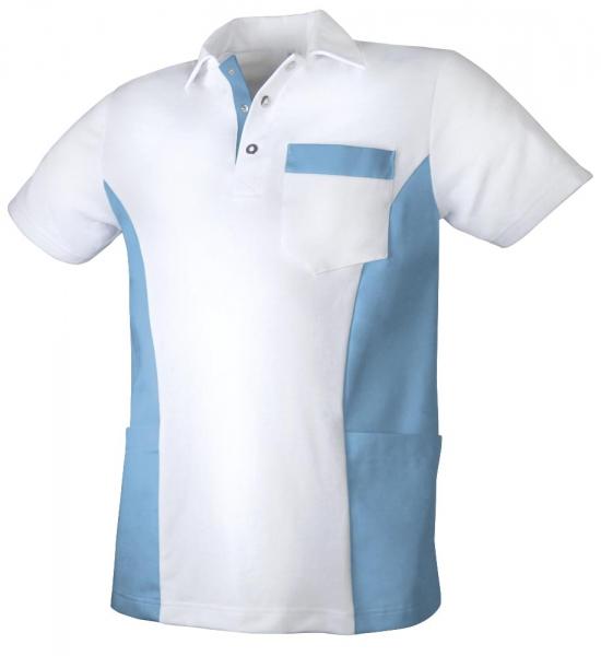 Teamdress-Service, Herren Polokasack, mit Brusttasche, weiß/azurblau
