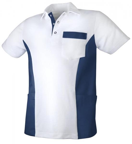 Teamdress-Service, Herren Polokasack, mit Brusttasche, weiß/marine