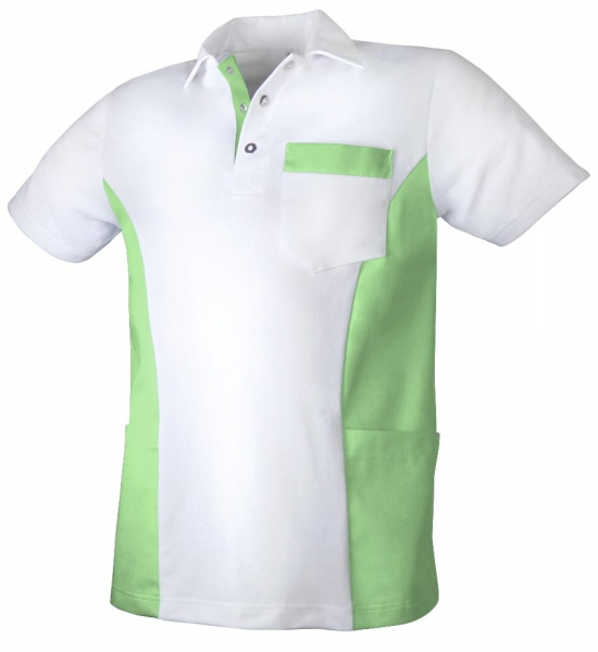 Teamdress-Service, Herren Polokasack, mit Brusttasche, weiß/grün
