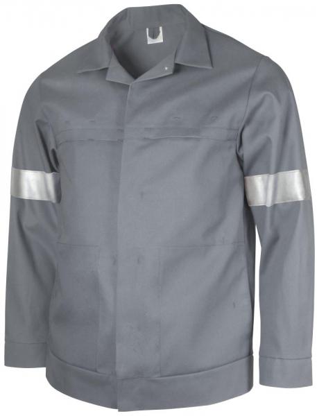 Teamdress-PSA, Schweißer/Hitzeschutz Antistatik, Bundjacke mit Reflexstreifen, Kl. 1, grau