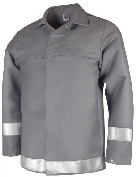 Teamdress-PSA, Schweißer/Hitzeschutz Jacke mit Reflexstreifen, Kl. 2, grau