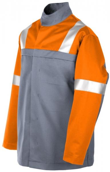 Teamdress-PSA, Gießerei/Schweißer-Jacke mit Reflexstreifen, EN ISO 11612, grau/orange