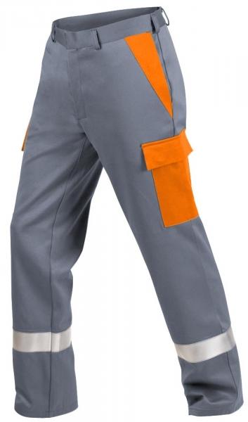 Teamdress-PSA, Gießerei/Schweißer-Bundhose mit Beintaschen und Reflexstreifen, EN ISO 11612, grau/orange