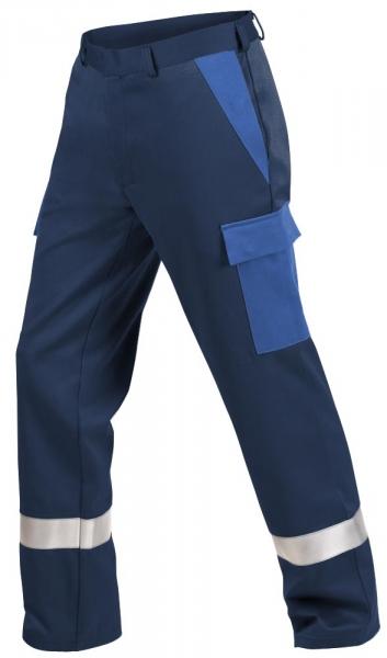 Teamdress-PSA, Gießerei/Schweißer-Bundhose mit Beintaschen und Reflexstreifen, EN ISO 11612, marine/kornblau