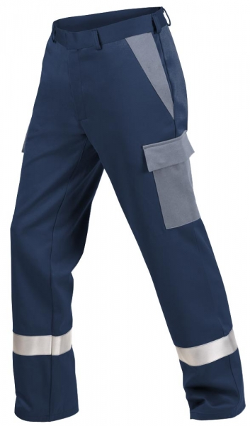 Teamdress-PSA, Gießerei/Schweißer-Bundhose mit Beintaschen und Reflexstreifen, EN ISO 11612, marine/grau