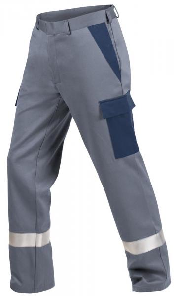 Teamdress-PSA, Gießerei/Schweißer-Bundhose mit Beintaschen und Reflexstreifen, EN ISO 11612, grau/marine