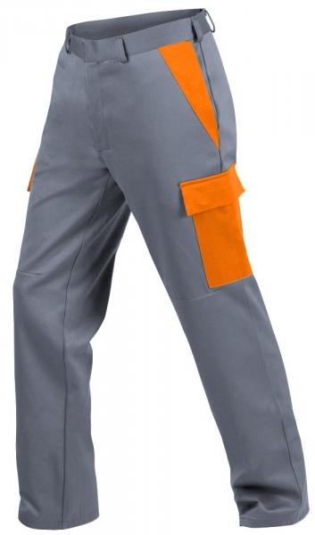 Teamdress-PSA, Gießerei/Schweißer-Bundhose mit Bein- und Knietaschen, EN ISO 11612, grau/orange