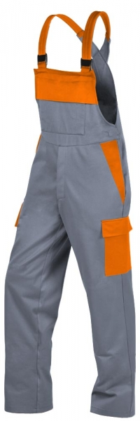 Teamdress-PSA, Gießerei/Schweißer-Latzhose mit Beintaschen, EN ISO 11612, grau/orange