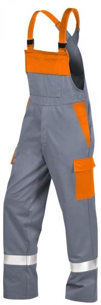 Teamdress-PSA, Gießerei/Schweißer-Latzhose mit Beintaschen und Reflexstreifen, EN ISO 11612, grau/orange