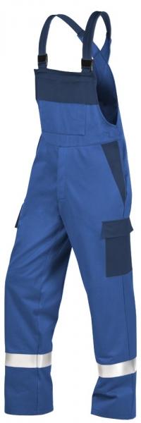 Teamdress-PSA, Gießerei/Schweißer-Latzhose mit Beintaschen und Reflexstreifen, EN ISO 11612, kornblau/marine