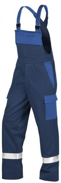 Teamdress-PSA, Gießerei/Schweißer-Latzhose mit Beintaschen und Reflexstreifen, EN ISO 11612, marine/kornblau