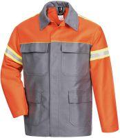 HB-Flammen-/Schweißer-Arbeits-Schutz-Berufs-Jacke, 460 g/m², mittelgrau/orange/leuchtgelb
