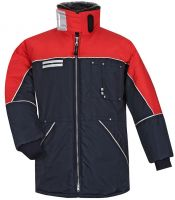 HB-Kälteschutz, Kühlraum-Thermo-Arbeits-Berufs-Damen-Jacke, 410 g/m², navy/rot