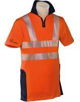 HB-Warn- und Wetter-Schutz-Poloshirt, 185 g/m², warnorange-rot/hydronblau