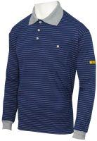 HB-ESD-Produktschutz-Herren-Poloshirt, langarm, 160 g/m², navy/silbergrau