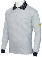 HB-ESD-Produktschutz-Herren-Poloshirt, langarm, 160 g/m², silbergrau/navy