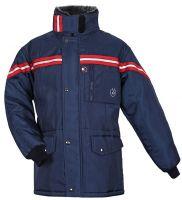 HB-Kälteschutz, Kommissionierer-Thermo-Arbeits-Berufs-Jacke, mit Teddyfutter, 560 g/m², navy/rot