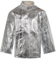 HB-Flammen-/Schweißer-Arbeits-Schutz-Berufs-Jacke, Hitzeschutz-Jacke, mit Klett, 460 g/m². silber