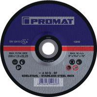 NORDWEST-PROMAT-Trenn-Flex-Schrupp-Scheiben, Trennscheibe INOX D230x1,9mm, gekr.INOX Bohrung 22,23mm