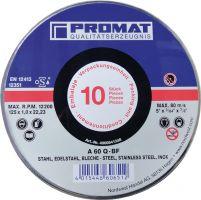 NORDWEST-PROMAT-Trenn-Flex-Schrupp-Scheiben, Trennscheibe INOX D125x1mm, ger.INOX Bohrung 22,23mm 10er Dose