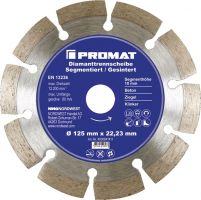 NORDWEST-PROMAT-Trenn-Flex-Schrupp-Scheiben, Diamant-Trennscheibe D.125mm Bohrung 22,23mm segmentiert 10mm