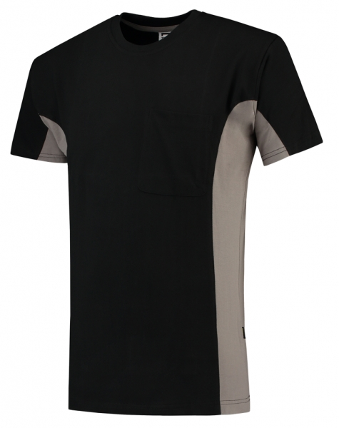TRICORP-T-Shirt, mit Brusttasche, Bicolor, 190 g/m², black-grey