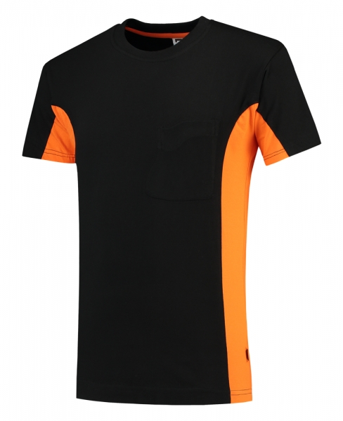 TRICORP-T-Shirt, mit Brusttasche, Bicolor, 190 g/m², black-orange