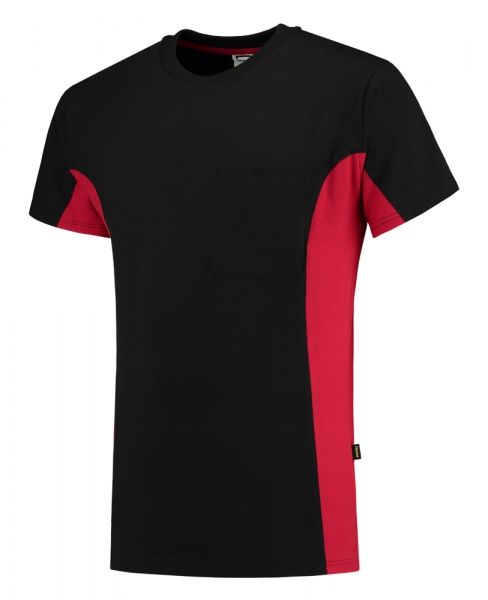 TRICORP-T-Shirt, mit Brusttasche, Bicolor, 190 g/m², black-red