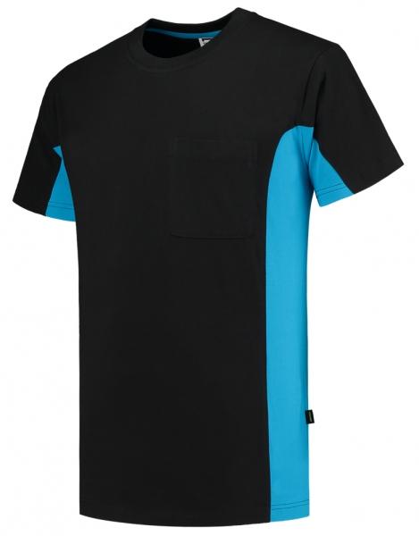 TRICORP-T-Shirt, mit Brusttasche, Bicolor, 190 g/m², black-turquoise