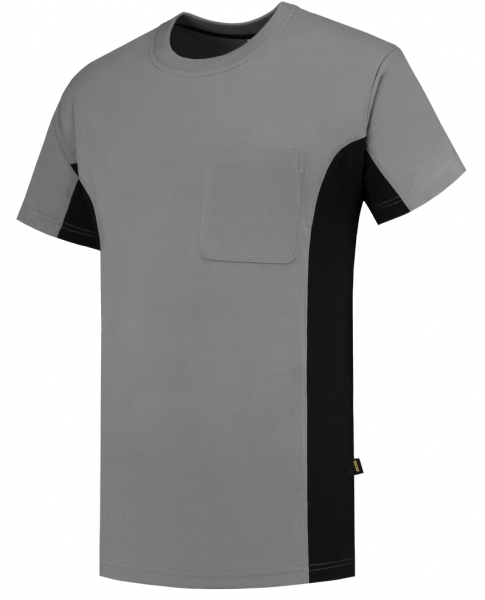 TRICORP-T-Shirt, mit Brusttasche, Bicolor, 190 g/m², grey-black
