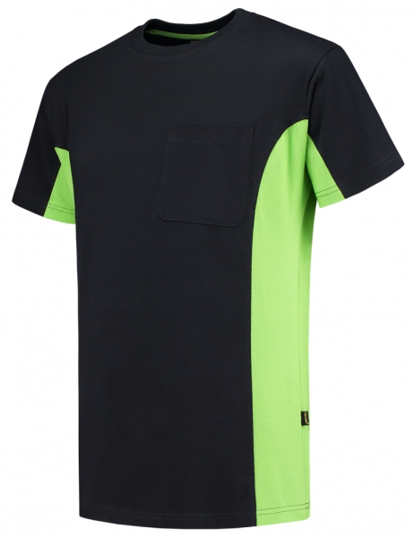 TRICORP-T-Shirt, mit Brusttasche, Bicolor, 190 g/m², navy-lime