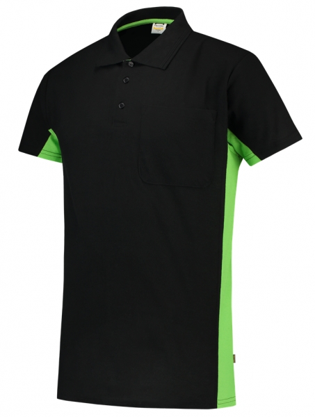 TRICORP-T-Shirt, mit Brusttasche, Bicolor, 180 g/m², black-lime