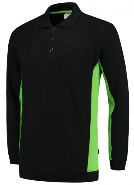 TRICORP-Polosweater, mit Brusttasche, Bicolor, 280 g/m², black-lime