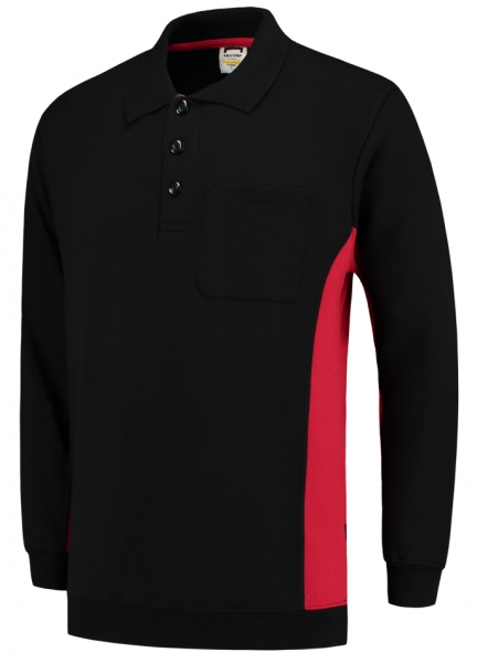 TRICORP-Polosweater, mit Brusttasche, Bicolor, 280 g/m², black-red