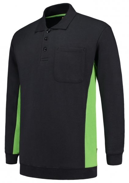 TRICORP-Polosweater, mit Brusttasche, Bicolor, 280 g/m², navy-lime