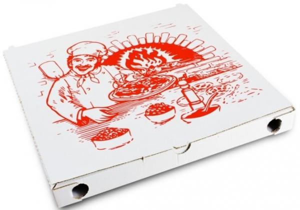 PL-Hygiene, Pizzakarton, Papier, neutrales Motiv, 1-farbiger Druck, 3 cm hoch, Größe: 24 cm, weiß, 200 Stück