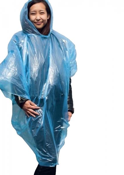 KORNTEX- Warn-Schutz-Einweg-Regen-Poncho, Sumatra, blau