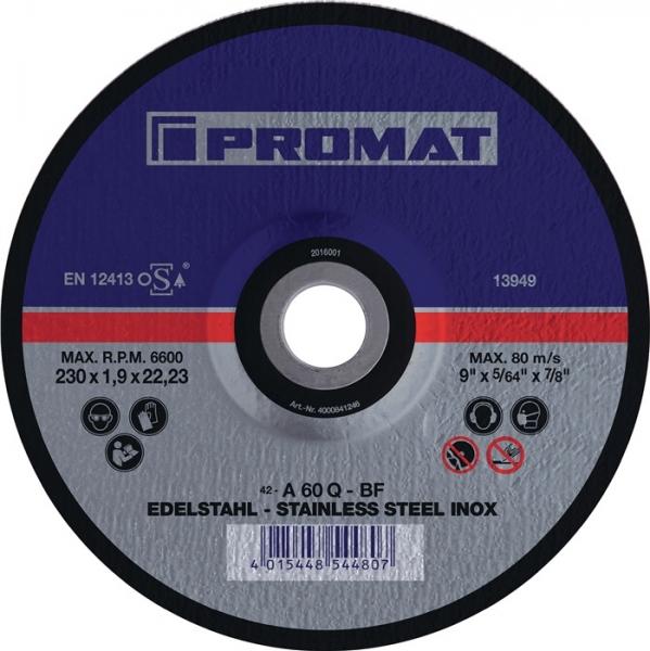 NORDWEST-PROMAT-Trenn-Flex-Schrupp-Scheiben, Trennscheibe INOX D115x1mm, ger.INOX Bohrung 22,23mm