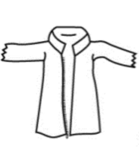 WIROS-Einweg-Vlies Jacke, kurz, Bänder im Nacken, Reißverschluss, Innentasche, 30 g/m², Polybeutel, 150 x 90 cm, VE: 50 Stück, dunkelblau